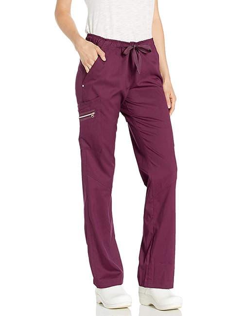 Smitten Blush Convertible Jogger Cargo Scrub Pant- Limelight - Pantalones para Mujer, Vino, L