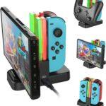 Aairhut Nuevo Cargador para Controles de Nintendo Switch, Estación de Soporte de Carga para Switch Joy-con y Pro Controller con indicador de Carga y Cable de Carga Tipo C