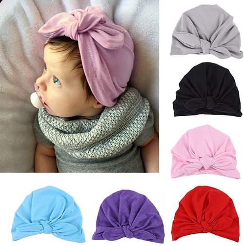 Fdit 6 Colores Sombrero de Bebé Turbante Sombrero Súper Suave Sombrero de Algodón Turbante Lindo(Rojo)