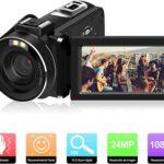 ODLICNO Cámara de Video, Videocámara Portátil Full HD 1080P 24MP 16X Digital Zoom 3 Pulgadas de Pantalla Rotación 270°Camcorder con Control Remoto Cámara de vlogging de Youtube