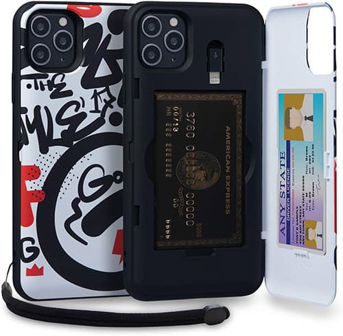 TORU CX Pro MAX Funda iPhone 11 Pro MAX Carcasa Cartera Diseño con Tarjetero Oculto, Adaptador Lightning, Correa Desmontable y Espejo para Apple iPhone 11 Pro MAX (2019) - Graffiti
