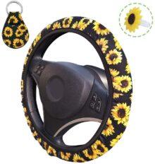 Cubierta de volante de girasol, AFUNTA Cubierta de volante linda y universal y soporte de llavero y ambientador para mujer, accesorios para automóviles