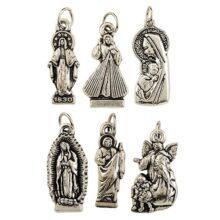Regalos religiosos, Lote de 6 medallas de Plata con Base de Tonos Variados, Dije de Dije de 7 cm