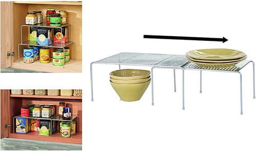 InterDesign 48866 Classic Expandable Stackable Storage Shelves for Kitchen Cabinets, Countertops, Pantries, Silver