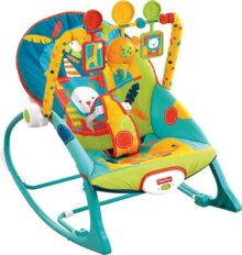 Fisher-Price, Silla Mecedora para Bebé, Safari en Colores Oscuros