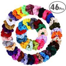 PUBAMALL Peinados para el Cabello, Cintas para el Pelo de Terciopelo elástico Gomas para el Cabello para Mujeres o niñas Accesorios para el Cabello (46 Pack)