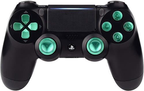 eXtremeRate Botones para PS4 Accesorios Joysticks Thumbsticks Botones de dirección Aluminio Botón de reemplazo para Mando Controlador del PlayStaion 4 PS4 Slim Pro Metal Kit(Verde)