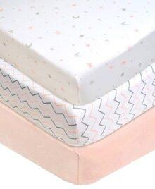 American Baby Company - Sábana para Cuna (100% algodón, 2 Unidades), Color Azul, Pink Star/Zigzag, Paquete de 3