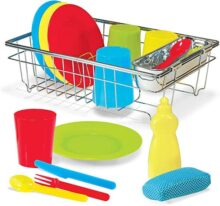 Melissa & Doug ¡Juguemos de casita! Juego para lavar y secar platos, 4 puestos de mesa, se usa con el set de cocina o por separado, 24 piezas, 10.16 cm alto x 29.21 cm ancho x 21.59 cm largo