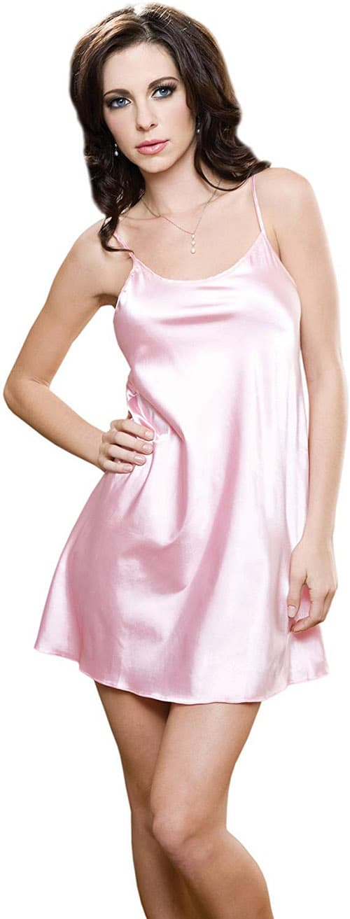 iCollection Women's Satin Chemise, Pink, Large/X-Large
