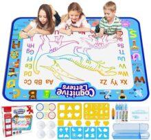Jasonwell Pizarrones Magicos para Niños 100x80cm Aqua Doodle Mat Grande Tableta de Dibujo Kit Mágico Dibujo de Agua Pintura Desarrolla Inteligente Dibujo de Juguetes para Niño de 2 3 4 5 6 7 años