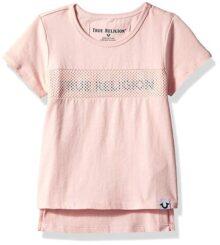 True Religion Playera Manga Corta Camiseta para Bebé-Niñas