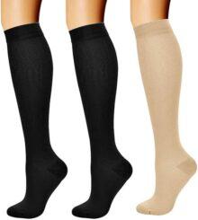 Eokeanon Rodilla Alta Medias, Calcetines de Compresión para Hombres y Mujeres 15-20 mmHg, es el mejor calcetines de Soporte para Ejercicio, Correr, Enfermeras, Médico, Embarazo, Viajes, Vuelo, Aumenta la Resistencia Reduce la Fatiga
