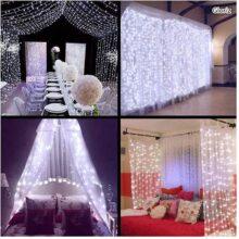 Cortina de luces LED, Gloriz 3 * 3M 300LEDs luz led lampara lluminación de decoración al aire libre con 8 modelos de lluminación, impermeable IP54 para Decoración de Ventanas, la decoración de fiestas,bodas (Blanco Frío)