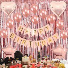 Eokeanon Birthday Decorations Artículos, fiestas de cumpleaños decoraciones, pancarta de feliz cumpleaños, cortina de aluminio con flecos de oro rosa, 10 globos de cumpleaños de oro rosa, 2 globos de aluminio con forma de corazón, globos de aluminio de 2 estrellas para los niños Fiesta de la fiesta de la fiesta de bienvenida al bebé de cumpleaños de niñas