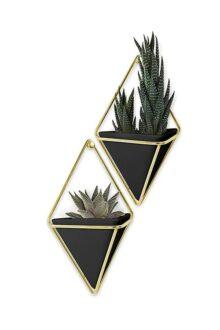umbra Trigg 470753-1137, Vaso geométrico, Color Negro y Dorado