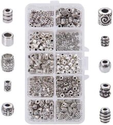 PandaHall Elite 1 Box 500 PCS 10 Style Antique Silver Column Spacer Beads Jewelry Findings Accessories for Bracelet Necklace Jewelry Making