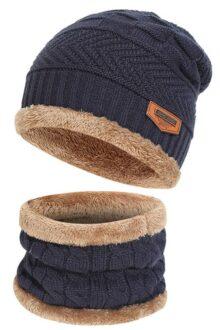 Gorra de hombre Gorras de invierno sombrero caliente frio con punto de bufanda