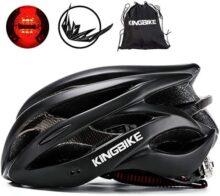 KINGBIKE - Casco de Bicicleta Ultraligero especializado con luz Trasera LED de Seguridad + Cubierta de Lluvia para Casco o Mochila portátil + Visera Desmontable para Hombres y Mujeres (M/L, L/XL)