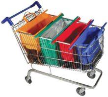 CHIC FANTASY - Bolsas reutilizables para carrito de supermercado. Colores: Naranja, Verde (termica y antiescurrimientos), Azul y Rojo.