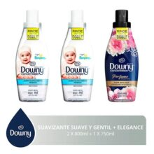 Downy Downy Suave Y Gentil Suavizante De Telas 1.6 L + Black Elegance 750 Ml, color, 1 count, pack of/paquete de