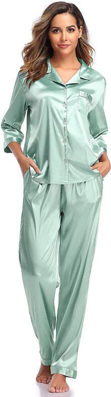 SHEKINI Conjunto de Pijama para Mujer Pijamas de Satén Ropa de Dormir para Mujer