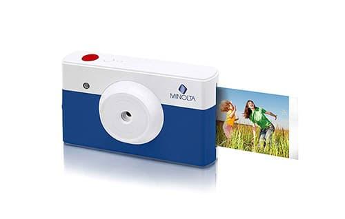 Minolta Instapix 2 en 1 Cámara Digital de impresión instantánea e Impresora Bluetooth, Color Azul