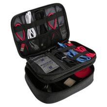 Procase Organizador de Viaje para Electrónicas, Bolsa de Almacenamiento de Capa Doble Caja de Transporte Universal para Equipo de Viaje iPad Mini Cables Cargador Adaptador Disco Duro y Más –Negro