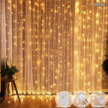 Cortina de luces LED, Gloriz 3 * 3M 300LEDs luz led lampara lluminación de decoración al aire libre con 8 modelos de lluminación, impermeable IP54 para Decoración de Ventanas, la decoración de fiestas,bodas (Blanco Cálido)