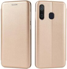 shemax Funda para Samsung Galaxy A30 / A20 Case,Cuero magnético Titular de la Tarjeta Cartera Billetera para Samsung Galaxy A30-Dorado