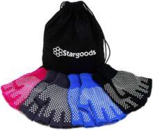 Stargoods Guantes para Yoga y Pilates Antideslizantes para Hombres y Mujeres. Set de 4 Pares, Negro, Gris, Azul y Rosa