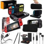 Orzly PACK ESENCIAL de Accesorios para Nintendo Switch [Incluye: Protectores de Pantalla, Cable USB, Funda para Consola, Estuche Tarjetas de Juego, Funda Silicona para la Nintendo Switch, Auriculares] – NEGRO