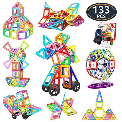 Jasonwell Bloques Magneticos de Construccion Juguetes Didacticos 3D Juegos de Construcción Creativos y Educativos Mejor Regalo Aprenda El Color y La Forma Juguetes para Niños de 3 4 5 6 7 8 9 Años (133 Piezas)