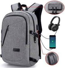 Mochila para portátil, mochila DOXUNGO antirrobo unisex con bloqueo Mochila portátil delgada con puerto de carga USB y puerto para audífonos para mujeres y hombres, hasta 15.6 pulgadas (Gris)