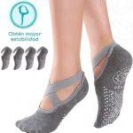 Thefne Set de 2 Pares de Calcetines Antiderrapantes para Mujer. Calcetines para Yoga, Pilates o Danza con Base Antideslizante. Excelentes Calcetas Unitalla para cualquier tipo de Superficie. Yoga Socks.