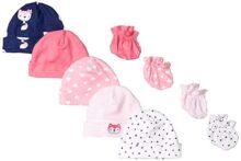 Gerber - Conjunto de 9 Manoplas para bebé, Rosa (Pink Fox), Recién Nacido