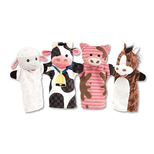 Melissa & Doug Títeres de Mano de los Amigos de la Granja (4 Títeres; Vaca, Caballo, Oveja, y Cerdo)