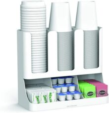 Mind Reader 6 Compartment Upright Breakroom Coffee Condiment and Cup Storage Organizer, White
