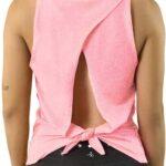 Blusa de Mujer con Espalda Descubierta y Nudo Sexy para Yoga, Pilates y Ejercicios, Top Deportivo