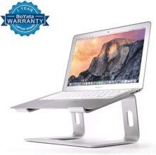 El soporte de computadora portátil Compatible con MacBook Pro / Air, soporte de aluminio para Boyata soporte ergonómico para computadora de escritorio ergonómico diseño para todas las computadoras portátiles Apple de 10 a 17 pulgadas, Samsung, Acer, HP, Dell Laptop-Sliver