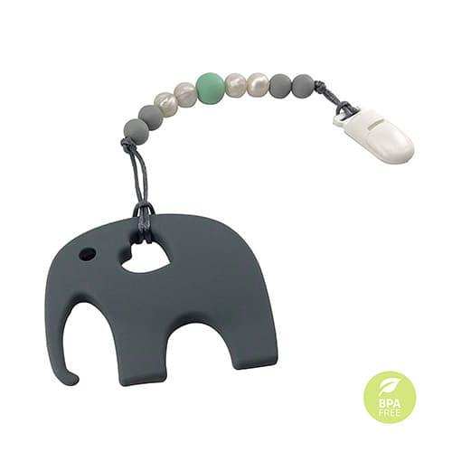 Correa de esferas de silicona suave con mordedera para bebé Baby Plume (gris)