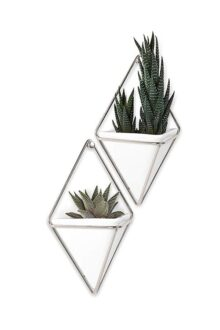 Umbra 470753-670 Trigg Hanging Vase and Geometric Wall Decor Container, White/Nickel, Set of 2 Planter, Small