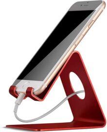 Lamicall Soporte Celular, Base para Celular Phone Móvil : Accesorios para Celular Teléfono Escritorio para Smartphones Phone X/XS Max/Xs/8/7/6 Plus,Samsung S9/S8/S7/S6 Plus - Rojo