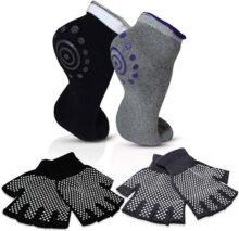 Stargoods Set de Guantes y Calcetines Antideslizantes para Yoga y Pilates, 4 Pares, Color Negro y Gris