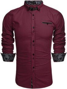 COOFANDY Camisa de Vestir para Hombre, de Moda, Ajustada, Informal