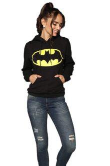 Aditivo Sudadera Negra con el Logo de Batman para Mujer, con Capucha.