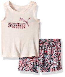 Puma - Conjunto de Pantalones Cortos de Malla y Playera para niña (2 Unidades)
