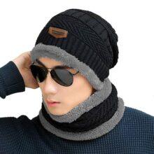 Hombres Suave Alineado Grueso Gorro de Punto Caliente Invierno Slouchy Gorros Set de Bufanda Sombrero