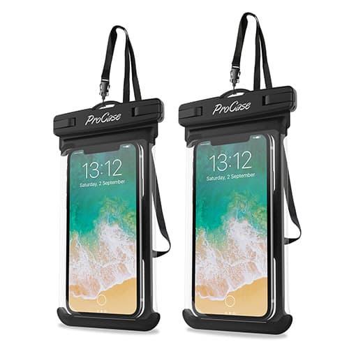 "ProCase Funda Impermeable Universal, Bolsa Estanca para iPhone X, 8/7/7 Plus/6S/6/6S Plus, Samsung Galaxy S9/S8 Plus/Note 8 6 5 4, Google Pixel 2 HTC LG Sony Moto hasta 6,5"" -2 Unidades, Negro"