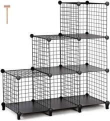TomCare Cubos de rejilla metálica para clóset modular de almacenamiento, 6 cubos de almacenamiento, apilables, estantería modular para el hogar, oficina, color negro